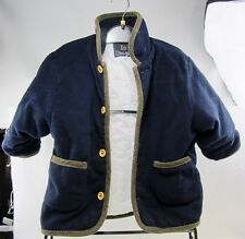 Dark Blue Kids Size 6 LONG RUN fall/winter soft Dress Jacket w/ brown trim