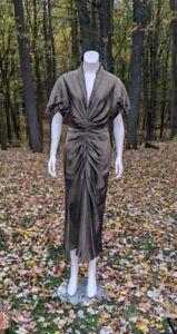 Roberto Cavalli Dress Gold Silk Lamé Plunging Neckline Puff Sleeve Maxi 46