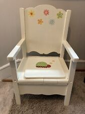 Adorable Vintage Wood Child Potty Chair  -Flowers