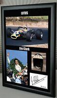 "Jim Clark Lotus F1 World Champion Framed Canvas Print Signed ""Great Gift"""