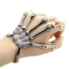 Fashion Halloween Silver Punk Rock Skeleton Skull Hand Bone Bracelet Goth ECB111