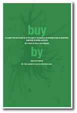 Buy vs By - New Classroom Reading and Writing Poster