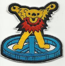 GRATEFUL DEAD dancing bear/yellow SHAPED - EMBROIDERED - IRON/SEW ON PATCH