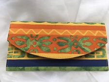 TRIBAL ETHNIC ORANGE YELLOW BLUE PATTERNED HAND CRAFTED ENVELOPE CLUTCH BAG