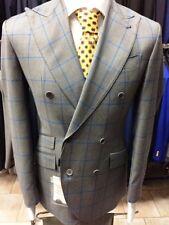 Fine grey/blue windowpane super 150 Cerruti double breasted wool suit