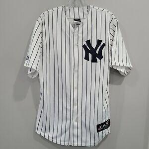 VTG Majestic New York Yankees Derek Jeter 2 White Pinstripe Jersey Mens M Sewn