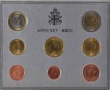 42376) Vatikan Euro - KMS 2003, von 1 Cent bis 2 Euro, im Folder, st.