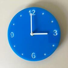 Round Bright Blue & White Clock (white Backed) white Hands Silent Sweep Movement