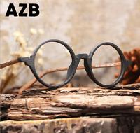 Unisex Clear Lens Acetate Wood grain Frame Eyeglasses Round Retro Glasses Hot