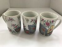 Coffee cups Tobacco Leaf fine china by Mann set of 3 made in Japan
