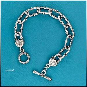 """KONSTANTINO Sterling Silver 925 Etched Link 7.5"""" Bracelet w/ Garnet Toggle Clasp"""