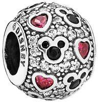 Genuine Pandora Disney Sparkling Mickey & Hearts Charm Silver S925 ALE 791457CZ