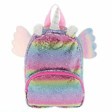 Claire's Club Rainbow Flying Unicorn Sequins Backpack - New