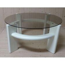 Tavolino da salotto moderno rotondo in legno colore bianco con piano vetro