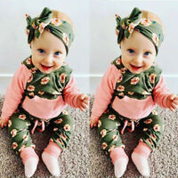 Baby Girls Clothes Set Newborn Hooded Floral Tops Pants Headbands 3Pcs Outfits