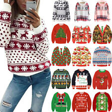 Womens Christmas Xmas Long Sleeve Hoodies Sweatshirt Jumper Hooded Pullover Tops