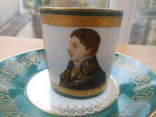 More details for sevres - antique imperial napoleonic demitasse cup and saucer - lucien bonaparte
