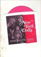 "NEW YORK DOLLS Personality Crisis US 7"" PS RE PUNK GLAM 1973 Demos Pink Vinyl"