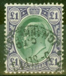 Transvaal 1908 £1 Green & Violet SG272 Fine Used C.T.O