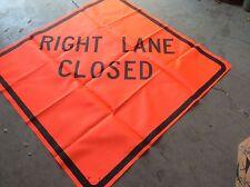 "GRAINGER 48"" KNIT ROAD SIGN  RIGHT LANE CLOSED FLUORESCENT NEW $39"