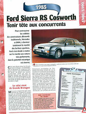 Ford Sierra RS Cosworth 1985 GERMANY DEUTSCHLAND ALLEMAGNE Car Auto FICHE FRANCE