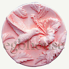 egbhouse, 2D Silicone Soap/polymer clay Mold - Hummingbird in Hibiscus Garden