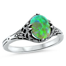 GREEN LAB FIRE OPAL ANTIQUE DECO STYLE .925 SILVER SOLITAIRE RING SIZE 9,   #425