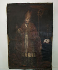 Huge French Antique 17th Century Oil Canvas Of A Bishop Painting
