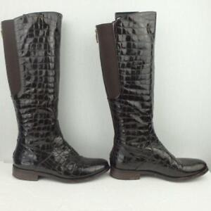 Hobbs Patent Leather Boots Uk 4 Eur 37 Womens Elasticated Shoes Croc Brown Boots