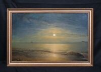 Large 19th Century British Moonlit Coastal Beach Landscape by Charles LEES