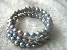 """3rows freshwater pearl gray baroque bracelet 7.5"""" wholesale nature amazing gift"""