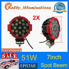 2X 7inch 51w Round LED Work Light SPOT Off-road Fog Driving 4WD Boat Jeep Bumper