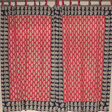 "Paisley Patterned Maroon Black Curtains - 2 Block Print Cotton Window Panels 80"""