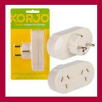 Korjo Travel Plug Adapter-Australia to Europe Thailand Indonesia Tahiti & Russia