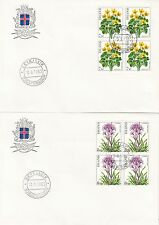 ICELAND :1983 Flowers blocks of four on illustrated First Day Covers SG622-5