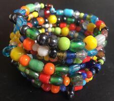 Handmade Boho Multi Coiled multi Coloured Coil Memory Wire Wrap Around Bracelet