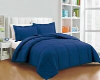 Chezmoi Collection Down Alternative Comforter 3-Piece King Set, Navy