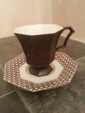 Independence Ironstone Interpace Brown & Off white cup and saucer