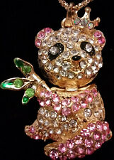 BETSEY JOHNSON CRYSTAL ENAMEL INLAY PINK PANDA BEAR  PENDANT NECKLACE 935535