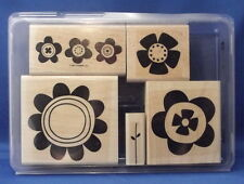 BIG BLOOMS Flower 5pc Set - Stampin' Up Wood Rubber Stamp in Case