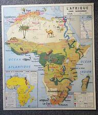 Carte pays afrique faune flore continent Ancienne affiche scolaire