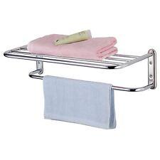 CHROME parete montato portasciugamani con porta asciugamani bagno di stoccaggio Scaffalature unità NUOVO