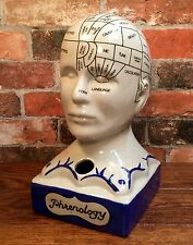 "Porcelain L.N. Fowler Phrenology Scientific Psychology 13"" Bust Head, Ink Well"
