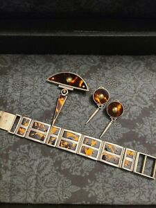 Laurence DeVries Sterling Silver & 18k bracelet, earrings, & brooch set