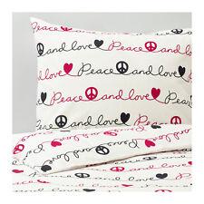 Ikea Vanskaplig Twin Duvet Cover with Pillowcase Love Peace Black White Hearts