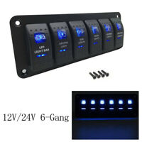 6 GANG Wippschalter Schalttafel Leistungsschalter LED Voltmeter RV Boot 12V 24V