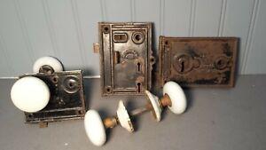 Lot of Antique Door Hardware Lock Latch Knob White D M & Co Pat 1864 Norwich