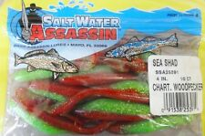 "Bass Assassin Sea Shad, 4"" - Chartreuse Woodpecker, soft plastic lures"