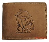 Hochwertige Geldbörse Geldbeutel Portemonnaie Büffel Leder Stier Wild
