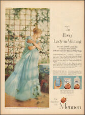 1958 Vintage ad for Mennen Baby Magic Powder`Photo pretty model blue   (121317)